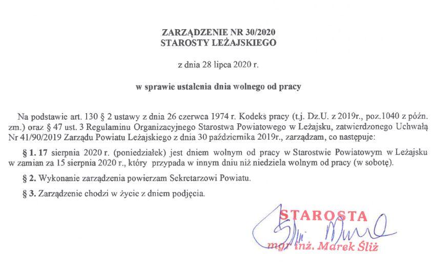 Zarządzenie 30/2020
