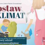 Grafika informująca o konkursie na plakat dotyczący zmian klimatycznych