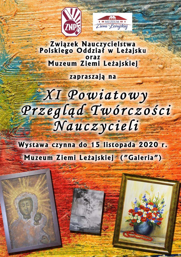 Plakat z tłem w kolorach pomarańczowym, czerwonym, niebieskim i zielonym imitującym pociągnięcia pędzla. Pośrodku napisy, a pod nimi trzy przykładowe obrazy z wystawy.
