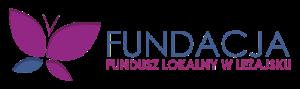 Logo Fundacji Fundusz Lokalny: motyl w kolorach niebieskim i fioletowym, po prawej stronie nazwa fundacji w tych samych kolorach